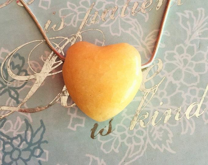 Yellow Aventurine HEART Necklace Jewelry Set w/ Reiki - Free Shipping