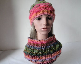 hat and cowl set, chunky knit accessories, woman accessory set, pink multi cowl, chunky cowl and cap, textured beanie, rainbow accessories