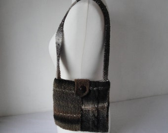 brown knitted bag, purse with cables, lined shoulder-bag, textured knit bag, bag with vintage button, knitted brown purse, brown ombre purse