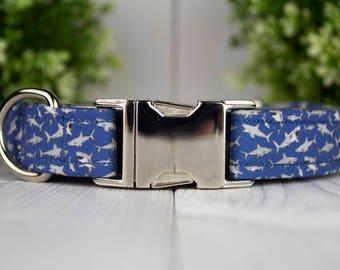 Shark adjustable Dog Collar with Metal Buckle