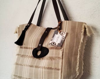 Ticking canvas tote bag / leather straps