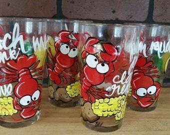 Handpainted crawfish drinking glasses - Set of 4