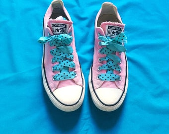 Vtg Converse All Star Pink Low top Trainers Sneakers UK Size 5  Blue Polka Dot Laces