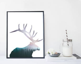 Forest deer art print, elk, nature illustration, home wall decor, apartment wall art, interior decor, gift,