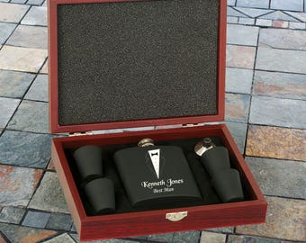 Black Engraved Groomsmen Gift Flask Set