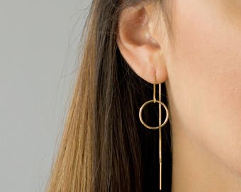 Circle Threader Earrings, Long Dangle Earrings, Dainty Everyday Earring, Gold Threader Earrings, Sterling Silver, by LEILAJewelryshop, E202