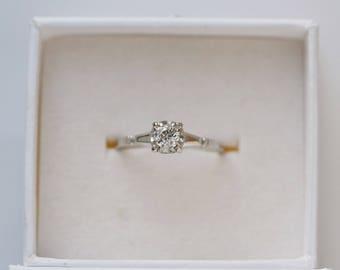 Old mine cut diamond engagement ring, vintage diamond ring,  Antique engagement ring