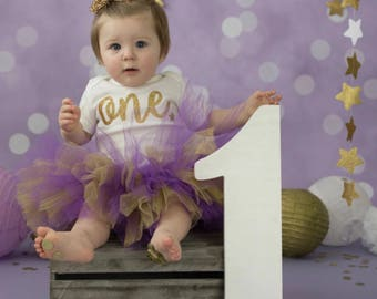 Purple and glitter gold tutu, first birthday tutu, tutus for girls, baby purple tutu, baby shower gift, photography prop