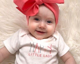 CORALEE Headwrap, Baby Head Wrap,  Fabric Head Wrap, Newborn Head Wraps, Toddler Headwraps, coral baby headband, coral baby head wrap