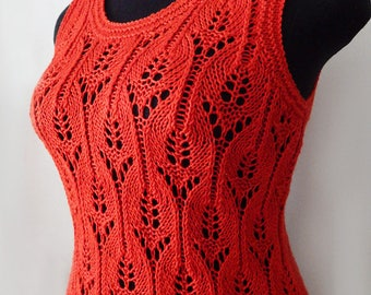 Knitted red top, knitted cotton top, knitted top, women's top, summer top, bright-red top, girls top, knitted red blouse, summer blouse