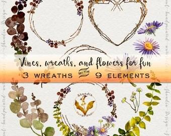 Watercolor clipart, flower clipart, wreath clipart, wedding clipart, purple flower clipart, wildflower wreath, boho clipart, vine clipart
