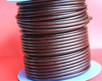 "MADE IN SPAIN 2 feet (24""/61cm) brown round leather cord, 4.5mm round leather cord, (5anites)"