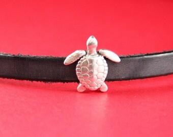3A/5 MADE in EUROPE turtle zamak slider, 10mm flat cord slider, 10mm leather cord  turtle slider, zamak sliders (9533-0077) Qty1