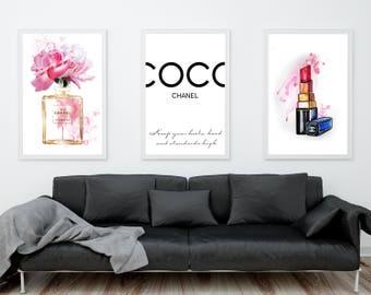 Coco Chanel prints. Coco Chanel perfume bottle, Coco Chanel quotes, Coco Chanel wall art. Chanel lipstick. Chanel watercolor print. Set of 3