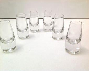 set of 6 vintage liquor glasses, vintage shot glasses, barware liquor glasses,  cordial glasses retro glasses