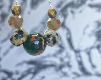 Brazilian Agate and Dalmatian Jasper Necklace