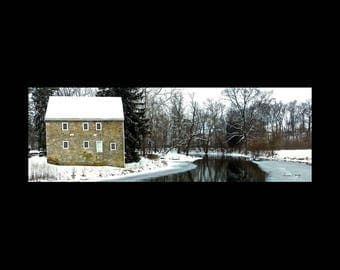 AzarEl's Gring's Mill, Reading PA / Photo or Canvas Print / snowy  historic gristmill & icy river in Berks County / Donna Young