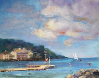 Door County Wisconsin, Original Paintings, Beach, Boats, Small oil painting, Plein Air, Small painting, Oil on Canvas Art Sue Whitney, 10x10