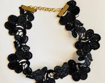 Floral Lace Choker - Layering Necklace - Black Choker - Festival Choker - Spring Fashion - Boho Jewelry - Coachella Necklace