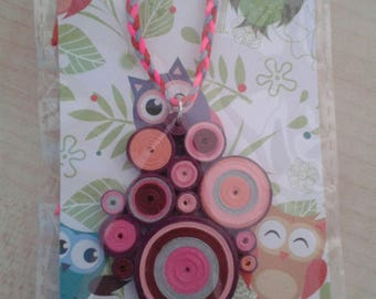 Quilling Pendant Necklace in Red, Grey and Fuxia