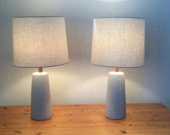 Vintage Pair Martz Marshall Studios Lamps | Incised Pinstripe White Glaze Jane and Gordon Martz | All Original Shades Finials Harps