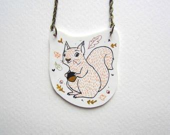 red autumn squirrel necklace