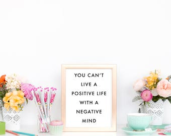 POSITIVE LIFE Poster - Motivational Quote Print Inspirational Saying Typographic Minimalist Digital Printable Black & White Text Art Design