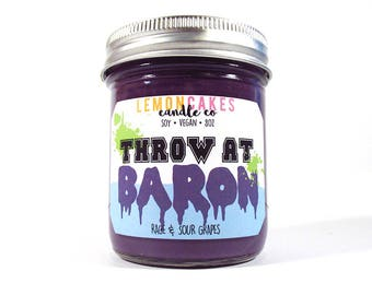 Throw At Baron - Video Game Candle / Decor - 9oz Soy Candle - LemonCakes Candle Co - Rage & Sour Grapes