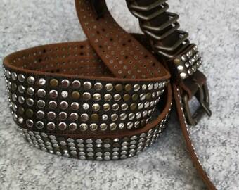 Vintage GUESS BELT, Genuine leather Vintage leather belt / black leather belt,  Leather Belt, Unisex Leather Belt Size 124,