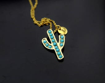 Gardening Gift Cactus Necklace Gold Cactus Charm Cactus Jewelry Blue Cactus Pendant Personalized Initial Charm Necklace
