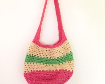 Crocheted Market Bag ~ Summer Fruit ~ Pink, Yellow, Green