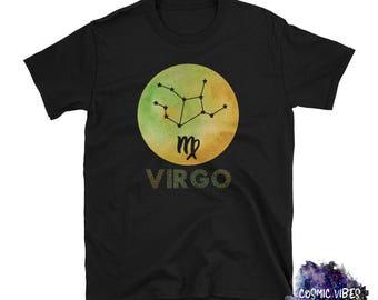 Virgo Watercolor Zodiac Unisex T-Shirt - Virgo the Virgin Astrology Tee Shirt - Zodiac Sign - Star Sign Shirt - Gift Idea