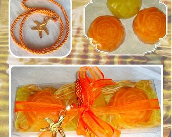 Fine Handmade Soaps Set, Trendy Summer Gift for her, Orange Gift Basket, Luxury all natural Scented Soaps, Boho elegant Handmade Necklace