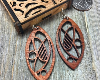 Laser cut wood earrings #4