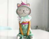 Tatter- Light Grey Cat Doll