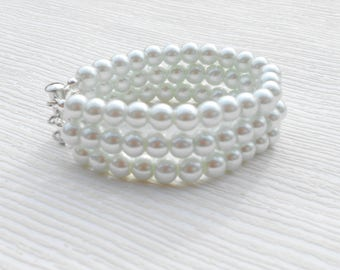 White glass pearl bracelet, chunky bracelet, unique for wedding, bridal shower gift, birthday present, bridesmaid, mother of the groom