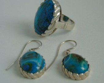 Set of earrings and ring in sterling silver with agate. Sicilian style. Finely constructed silver jewelry natural Mediterranean.