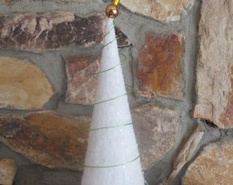 White Christmas Tree with Green Trim