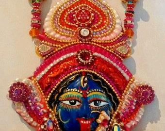 hindu goddess kali face mask pendant/necklace couture piece