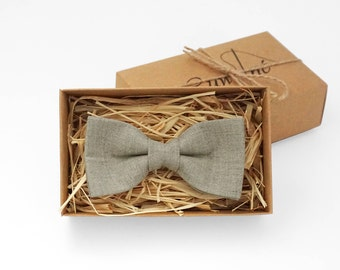 Light grey mens bow tie, natural linen bow tie, light grey bow tie, boys gray bow tie, boys bow tie, wedding bow tie, bow ties for men