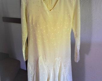 Vintage handmade cream charmeuse 1920s style dress, 1960s