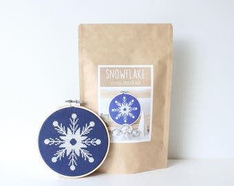 Winter Wonderland Cross Stitch Kit Snowflake Modern Stitch Kit Xmas Cross Stitch Holiday DIY Winter Snow Including Supplies & Instructions