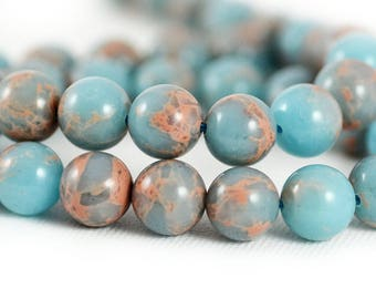 Imperial Impression Jasper Powder Blue Tan Swirls Inclusions Composite Stone Upcycled Round Bead 10mm