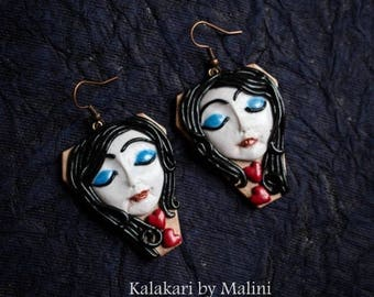 Polymer Clay Earrings, Doll Face Earrings, polymer clay jewellery, polymer clay ,  clay jewellery, Danglers, Valentine Earrings