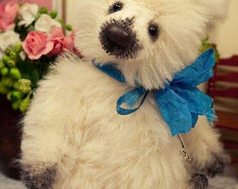 Artist teddy bear, mini bear, artist bear, white bear, 5in, ooak bear, kawaii, Maria Trotsenko, leather nose