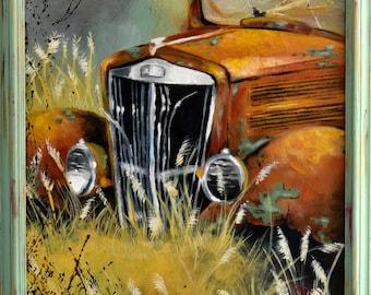painting old vintage truck