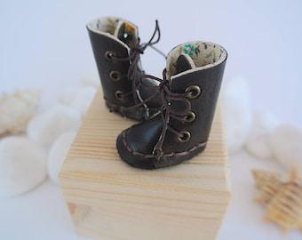 Ankle boots for Blythe, Pullip, Monster High or Ever After high dolls. Vintage brown leather. New design.