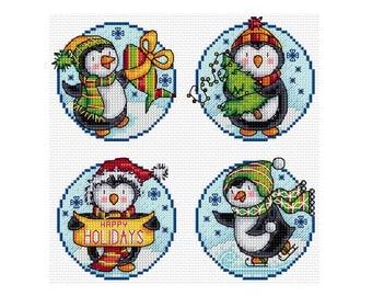Happy Penguins - Set of 4 - Durene J Cross Stitch Pattern - DJXS2255