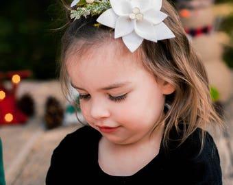 White Poinsettia Headband/Holiday Headband/Christmas Headband/Holiday Flower Clip/ Hair Clip