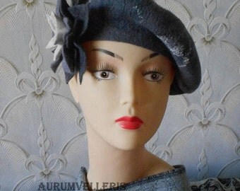 Felted Beret READY TO SHIP Felt Hat French beret Wool beret  Women's Felted Hat Fashionable hat Fashion accessory Gift for her